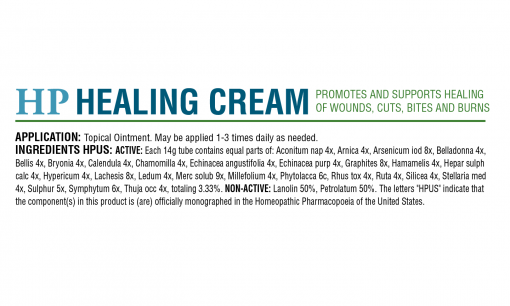 HomeoPet HP Healing Cream box back