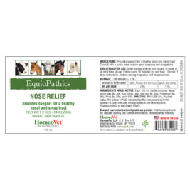 HomeoVet Equio Nose Relief label
