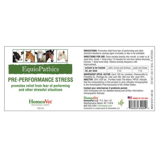 HomeoVet Equio Pre-Performance Stress label