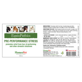 HomeoVet EquioPathics Pre-Performance Stress label