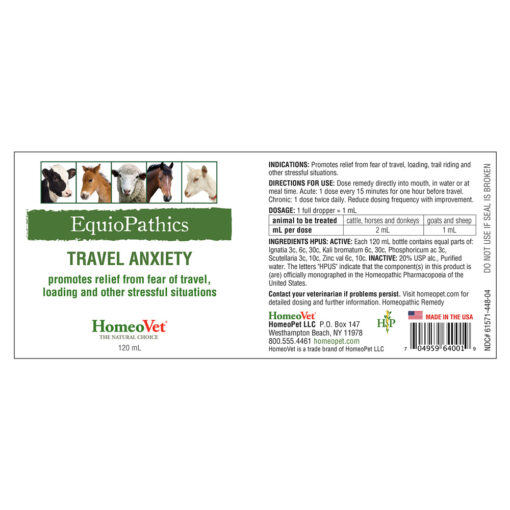 HomeoVet Equio Travel Anxiety label