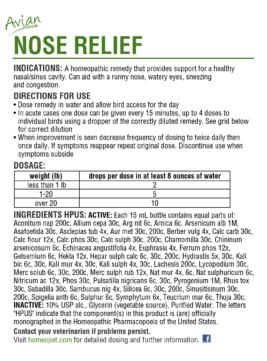 HomeoVet Avian Nose Relief box back